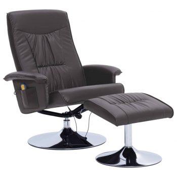 Masažni fotelj s stolčkom za noge siv iz umetnega usnja