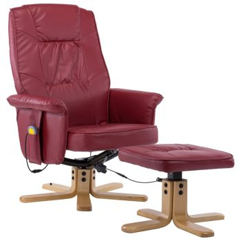 Masažni fotelj s stolčkom za noge vinsko rdeč iz umetnega usnja