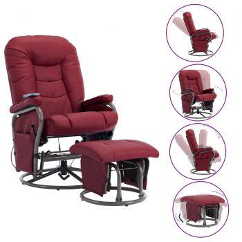 Masažni fotelj s stolčkom za noge vinsko rdeče umetno usnje