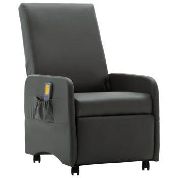 Masažni fotelj sivo umetno usnje
