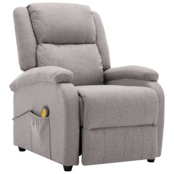 Masažni fotelj svetlo sivo blago
