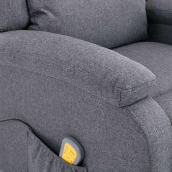 Masažni fotelj temno sivo blago