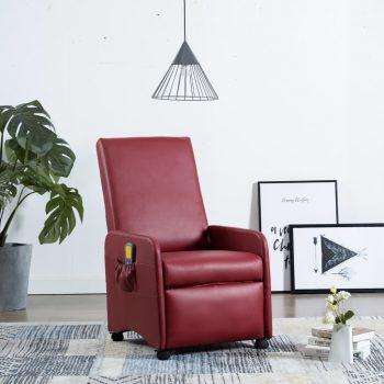 Masažni fotelj vinsko rdeče umetno usnje