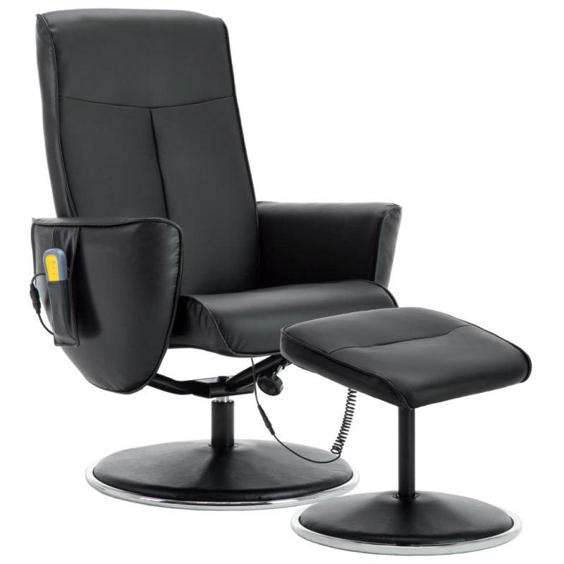 Masažni naslanjač s stolčkom za noge črno umetno usnje