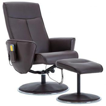 Masažni naslanjač s stolčkom za noge rjavo umetno usnje