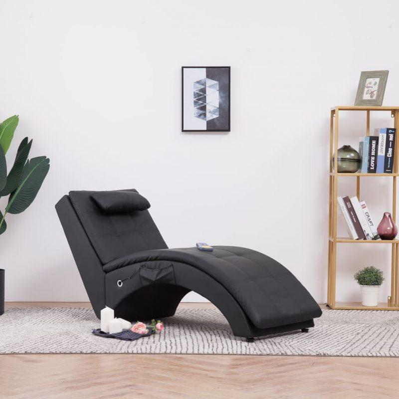 Masažni počivalnik z blazino črno umetno usnje