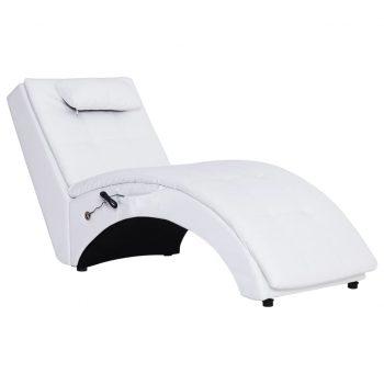 Masažni počivalnik z blazino belo umetno usnje