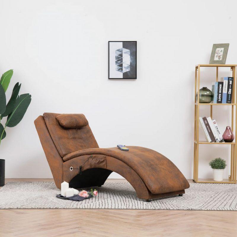 Masažni počivalnik z blazino rjavo umetno semiš usnje