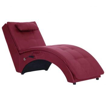 Masažni počivalnik z blazino vinsko rdeče umetno usnje