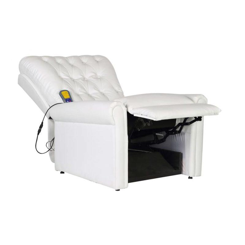 Masažni stol belo umetno usnje