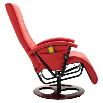 Masažni stol rdeče umetno usnje