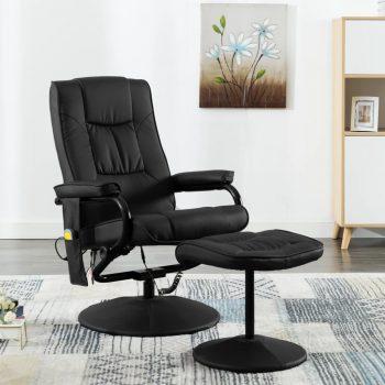 Masažni stol s stolčkom za noge črno umetno usnje