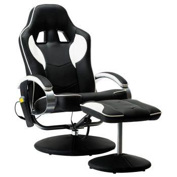 Masažni stol s stolčkom za noge belo umetno usnje