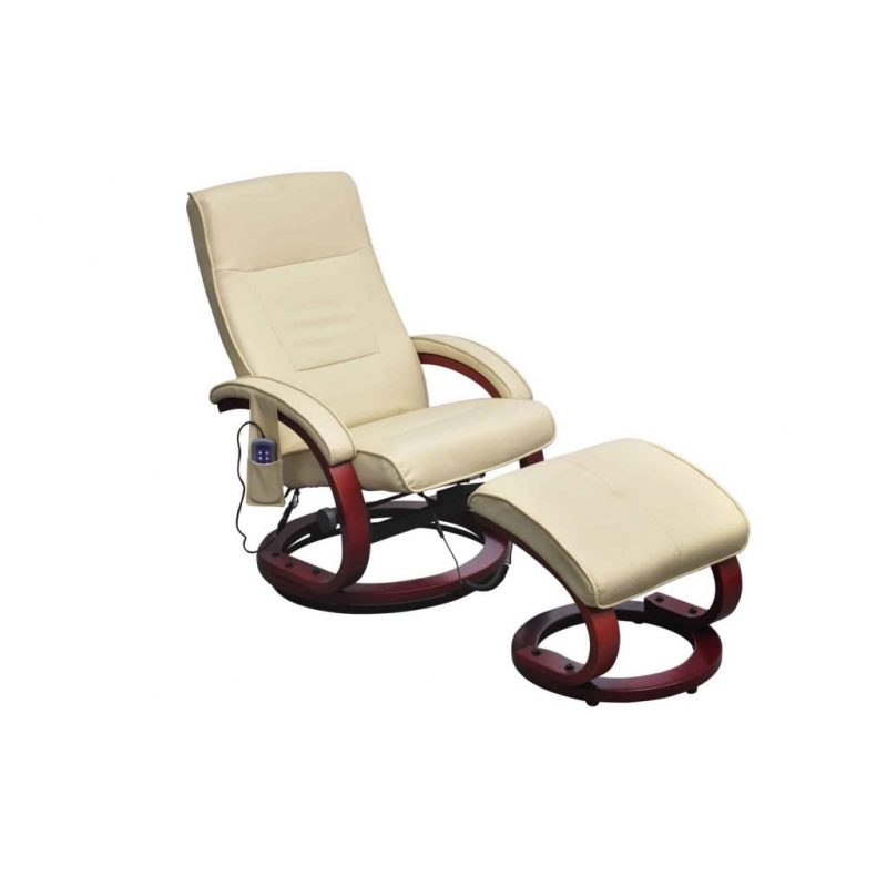 Masažni stol s stolčkom za noge krem umetno usnje