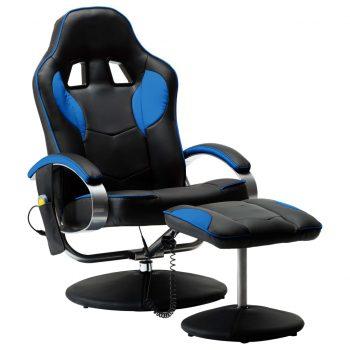 Masažni stol s stolčkom za noge modro umetno usnje