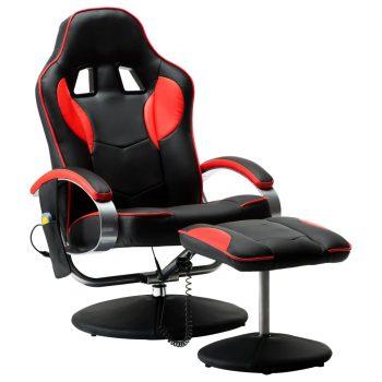 Masažni stol s stolčkom za noge rdeče umetno usnje