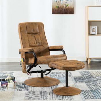 Masažni stol s stolčkom za noge rjavo umetno semiš usnje