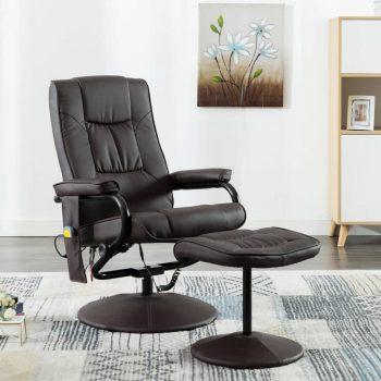 Masažni stol s stolčkom za noge rjavo umetno usnje
