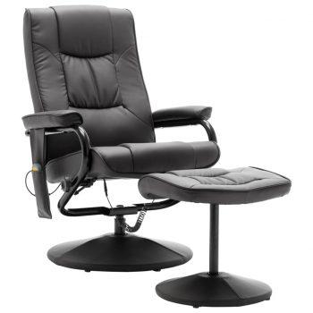 Masažni stol s stolčkom za noge sivo umetno usnje