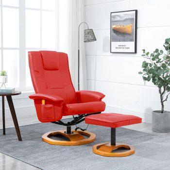Masažni stol s stolčkom za noge umetno usnje rdeč