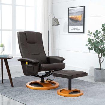 Masažni stol s stolčkom za noge umetno usnje rjav