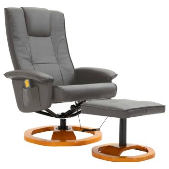 Masažni stol s stolčkom za noge umetno usnje siv