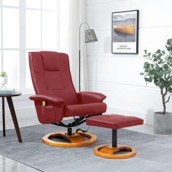 Masažni stol s stolčkom za noge umetno usnje vinsko rdeč