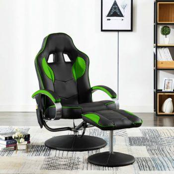 Masažni stol s stolčkom za noge zeleno umetno usnje