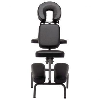 Masažni stol umetno usnje črn 122x81x48 cm