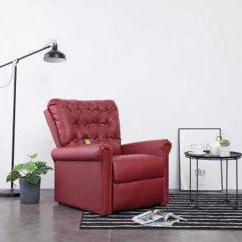Masažni stol vinsko rdeče umetno usnje