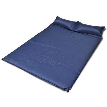 Modra samo napihljiva blazina 190 x 130 x 5 cm (dvojna)