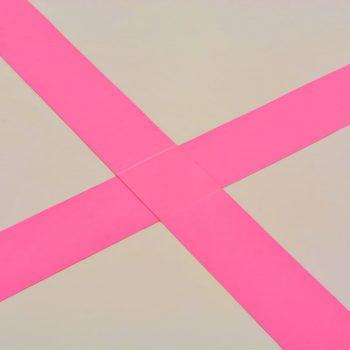 Napihljiva gimnastična podloga s tlačilko 300x100x10 cm roza