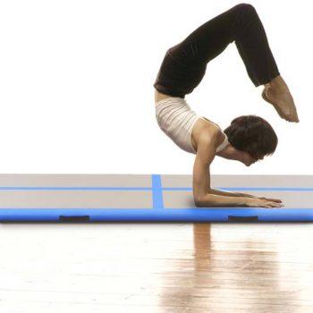 Napihljiva gimnastična podloga s tlačilko 700x100x10 cm modra