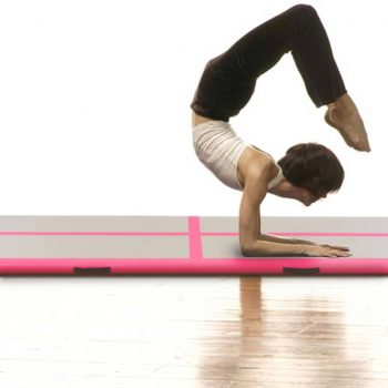 Napihljiva gimnastična podloga s tlačilko 700x100x10 cm roza