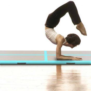 Napihljiva gimnastična podloga s tlačilko 800x100x10 cm zelena