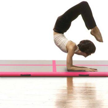 Napihljiva gimnastična preproga s tlačilko 800x100x10 cm roza