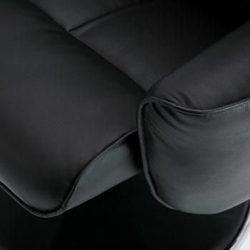 Naslanjač s stolčkom za noge črno umetno usnje