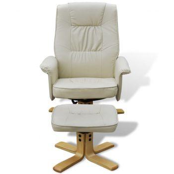 Naslanjač s stolčkom za noge kremno belo umetno usnje