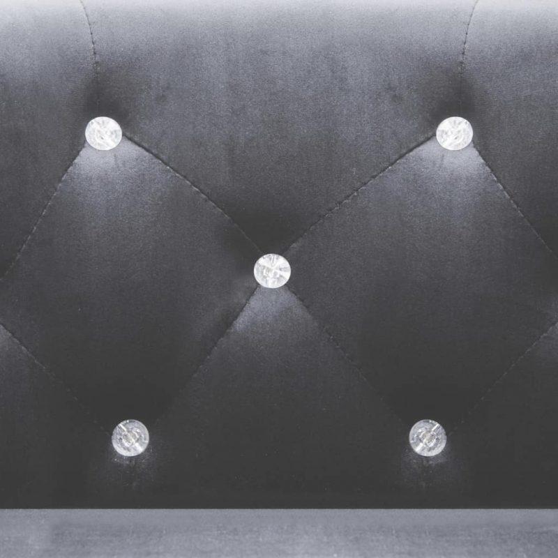 Naslanjač z oblogo iz žameta 65x64x65 cm antracitne barve