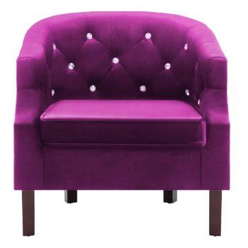 Naslanjač z oblogo iz žameta 65x64x65 cm vijolične barve