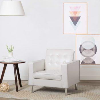 Naslanjač z oblogo iz umetnega usnja 75x70x75 cm bele barve
