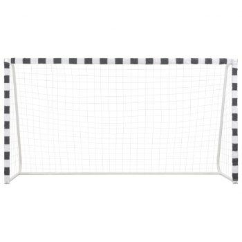 Nogometni gol 300x160x90 cm kovinski črn in bel