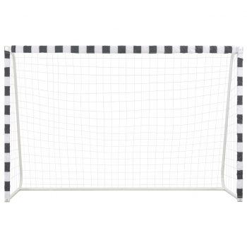 Nogometni gol 300x200x90 cm kovinski črn in bel