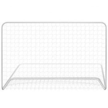 Nogometni gol z mrežo jeklo 182x61x122 cm bel