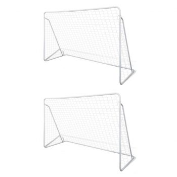 Nogometni goli z mrežo jekleni 2 kosa 240x90x150 cm