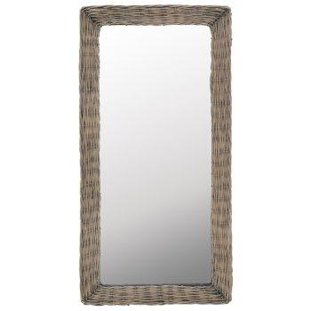 Ogledalo s pletenim okvirjem rjave barve 50x100 cm