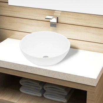Okrogel Keramičen Umivalnik za Kopalnico Bele Barve