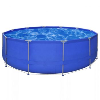 Okrogel nadzemeljski bazen z jeklenim okvirjem 457 x 122 cm