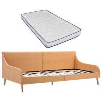 Okvir za dnevno posteljo z vzmetnico iz sp. pene oranžno blago