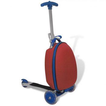 Otroški skiro s kovčkom rdeče barve